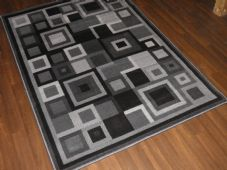 Modern Approx 8x5ft 160x230cm Woven Squares Quality Rugs Dark Greys Bargain Sale